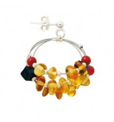 Onyx, coral and amber earrings