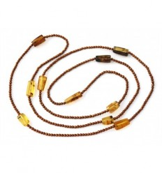 Hematite and Mexican amber double-length necklace