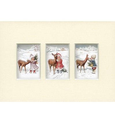 Fawns in the Snow card