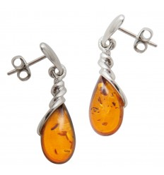 Amber and silver earrings - Diffusion Rosicrucienne