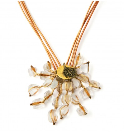 Cluster necklace Hand cut jewellery in frosted glass