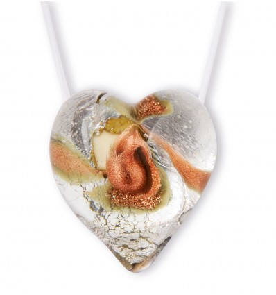 Ivory and Silver Murano Heart