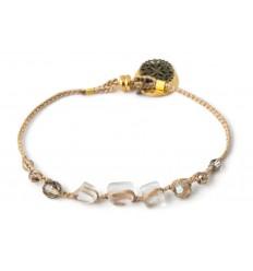 Beige beaded bracelet Hand cut jewellery in frosted glass
