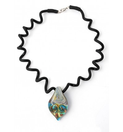 Murano turquoise leaf pendant