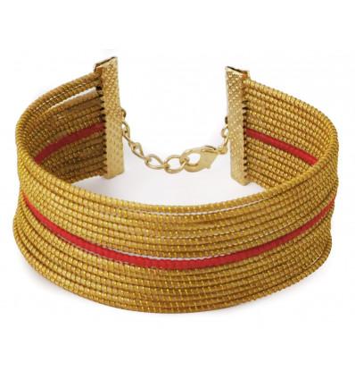 Bracelet Angico rouge et or