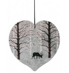 A deer under the snow