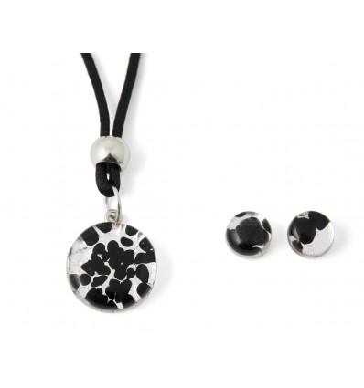 Murano glass set black and silver