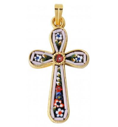 Murano glass cross Floral pattern