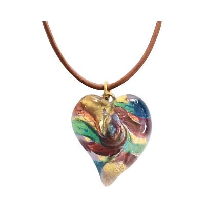 Coeur Murano Améthyste et or