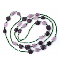 Hematite and amethyst double-length necklace